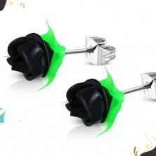 Čelične naušnice, crna silikonska ruža sa zelenim lišćem, dugmad