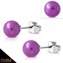 Naušnice od nehrđajućeg čelika, ljubičaste loptice sa metalnim odsjajima