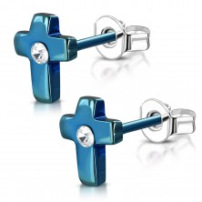 Čelične naušnice, anodirani plavi križ sa prozirnim cirkonom
