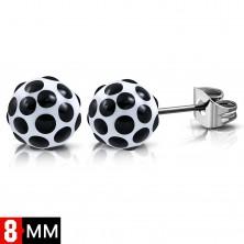Naušnice od nehrđajućeg čelika, bijele loptice sa crnim točkama