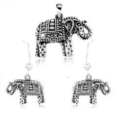 925 srebrni set, naušnice i privjesak, ugravirani slon sa crnom patinom