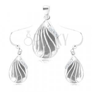 925 srebrni set - naušnice i privjesak, ugravirana kapljica sa prozirnim cirkonima