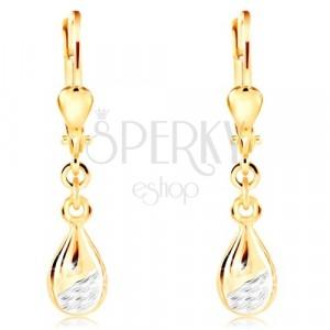 14K zlatne naušnice - sjajna kapljica sa mat urezanim dijelom od bijelog zlata