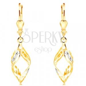 585 zlatne naušnice - širi dvobojni valovi ukrašeni usjecima