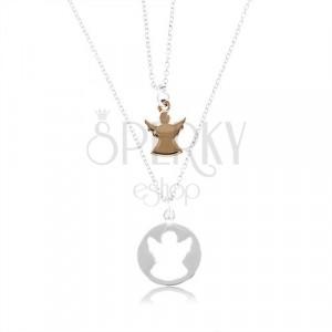 Dvije 925 srebrne ogrlice - krug sa usjekom u obliku anđela bakrene boje