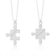 925 srebrne ogrlice - dijelovi slagalice sa natpisima Mom i Daughter