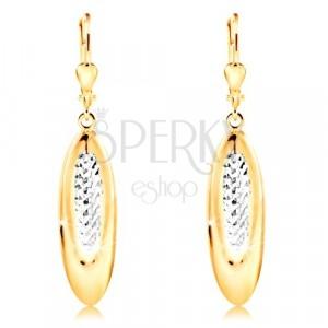 14K zlatne naušnice - viseći oval ukrašen sa malim usjecima i bijelim zlatom