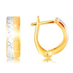 14K zlatne naušnice - glatka mat traka žute boje, profinjene linije od bijelog zlata