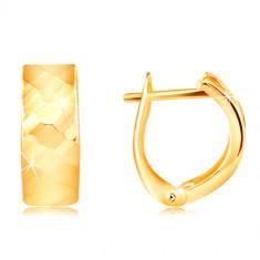 Žute 14K zlatne naušnica - sjajna površina sa profinjenim fazetama