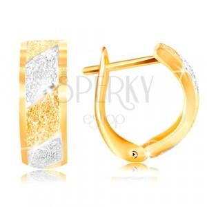 585 zlatne naušnice - svjetlucave brušene trake od žutog i bijelog zlata