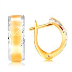 14K zlatne naušnice - sjajni luk sa profinjenim rubovima od bijelog zlata