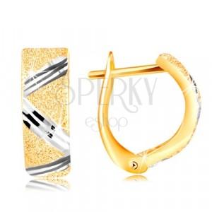 14K zlatne naušnice - svjetlucava brušena površina sa cik cak linijom od bijelog zlata