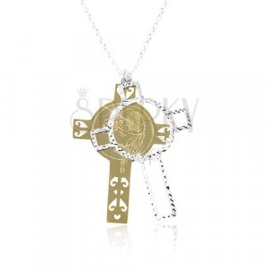 925 srebrna ogrlica, ugravirani križ zlatne i srebrne boje