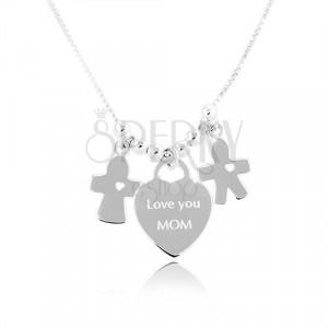 """Srebrna 925 ogrlica, srce sa natpisom """"Love you MOM"""", dečko i djevojčica"""