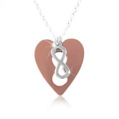 Ogrlica od 925 srebra - bakreno srce sa simbolom BESKONAČNOSTI