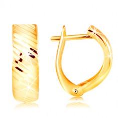 Naušnice od 14K zlata - luk sa sjajnim dijagonalnim usjecima