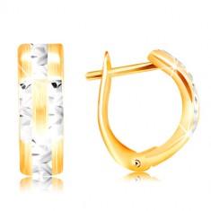 14K zlatne naušnice - mat luk sa sjajnim linijama od bijelog zlata