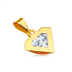Privjesak od 14K žutog zlata - dijamantni rub, svjetlucavi prozirni cirkon