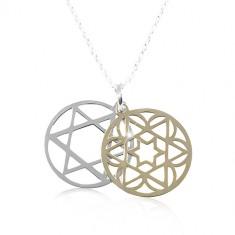 925 srebrna ogrlica, urezana zvijezda u dvobojnom krugu