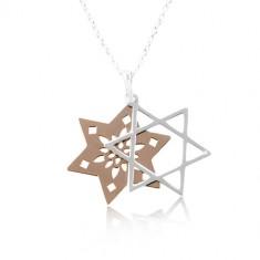 Ogrlica od 925 srebra, dvostruka zvijezda sa prorezima, bakrena i srebrna boja
