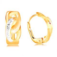 585 zlatne naušnice - dva spojena ovala sa malim usjecima