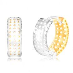 14K zlatne naušnice - prsten od žutog i bijelog zlata, rupice