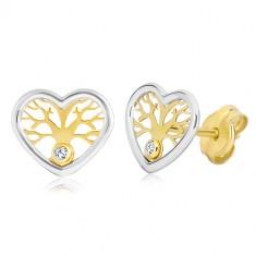 Naušnice od 585 zlata - srce u dvije boje sa drvom života i cirkonom