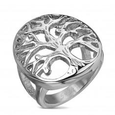 Prsten od nehrđajućeg čelika sa motivom drveta na velikom ovalu, srebrna boja