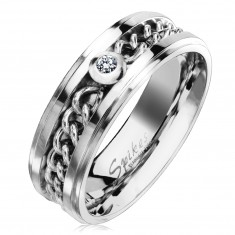 Čelični prsten srebrne boje sa lančićem i prozirnim cirkonom, 7 mm