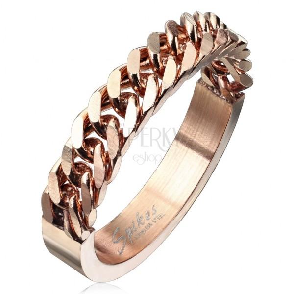 Prsten od nehrđajućeg čelika bakrene boje sa uzorkom lančića, 4 mm