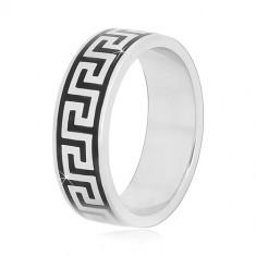 925 srebrni prsten sa crnim uzorkom grčkog ključa, 6 mm