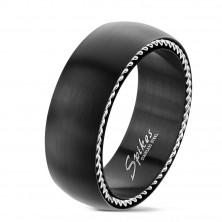Prsten od nehrđajućeg čelika sa spiralama sa strane, mat crni, 8 mm