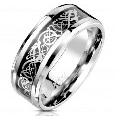 Čelični prsten sa ornametskim motivom srebrne i crne boje, 8 mm