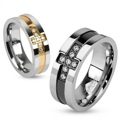 Čelični prsten sa cirkonskim križem i bakrenom prugom, 6 mm