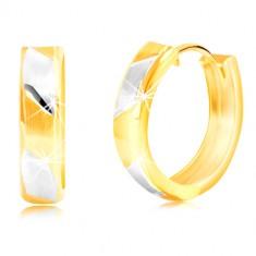 14K zlatne naušnice - mat dvobojne trake sa sjajnim linijama