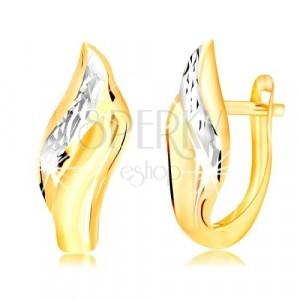 14K zlatne naušnice - list sa dekorativnom usječenom linijom od bijelog zlata