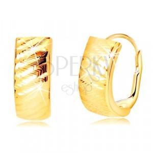 Žute 585 zlatne naušnice - lukovi sa dijagonalnim usjecima, francuka kopča