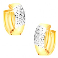 Kombinirane 14K zlatne okrugle naušnice - uzice od bijelog zlata