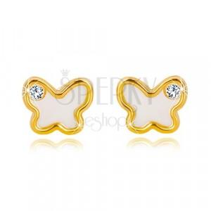 Žute 14K zlatne dugme naušnice – leptir sa prirodnim sedefom i cirkonom