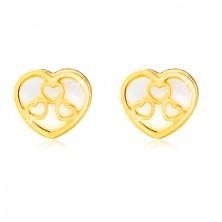 Žute 14K zlatne dugme naušnice – srce sa prirodnim sedefom i prorezima