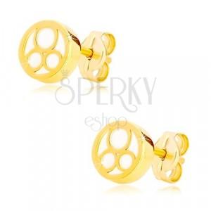 Naušnice od 585 žutog zlata – krug sa prirodnim sedefom i tri karike