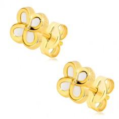 Žute 14K zlatne naušnice – cvijet sa četiri latice i sedefom, dugmad