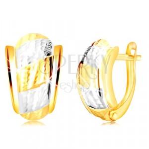 14K zlatne naušnice - asimetrični luk sa trakama ukrašen usjecima