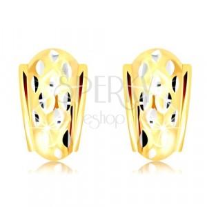 14K zlatne naušnice - atipičan luk ukrašen malim zrnima od bijelog zlata