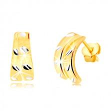 14K zlatne dugme naušnice - dva mat polukruga sa malim zrnima