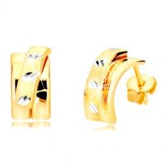 14K kombinirane zlatne naušnice - širi luk sa mat polukrugom, dugmad