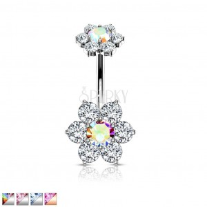 Piercing za pupak od 316L čelika - dva cirkonska cvijeta sa šest latica