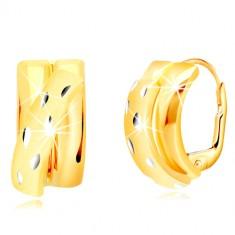14K zlatne naušnice - sjajni polulukovi ukrašeni sa mat lukom