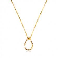 Ogrlica od žutog 9K zlata - silueta suze, tanki lančić sa ovalnim karikama