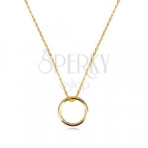 375 zlatna ogrlica - fini lančić sa privjeskom glatkim sjajnim krugom